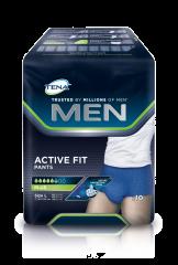 TENA Men Active Fit Pants Plus L INKOHOUSUT MIEHILLE, LANT.YMP. 95-130CM 10 kpl